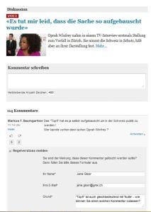 130814 TAMEDIA - Oprah Winfrey - Löschung diskriminierender Leserkommentar